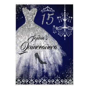 Sparkle Diamond Dress Navy Quinceanera Invitation