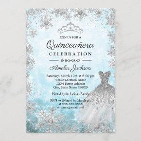 Sparkle Dress Blue Snowflakes Winter Quinceanera Invitation