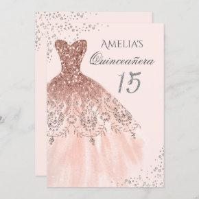 Sparkle Dress Pink Rose Gold Quinceanera Invite