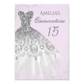 Sparkle Dress Purple Silver Quinceanera Invitation