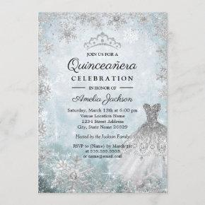 Sparkle Dress Snowflakes Blue Winter Quinceanera Invitation