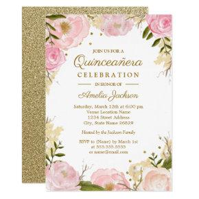 Sparkle Floral Pink Gold Quinceanera Card