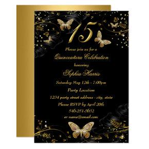 Sparkle Gold Black Butterfly Quinceanera Invite