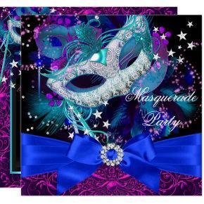 Sparkle Mask & Bow Masquerade Party Invitation