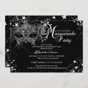 Sparkle Mask Star Night Masquerade Quinceañera Invitation
