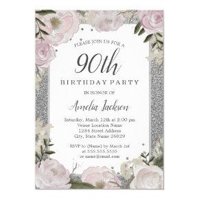 Sparkle Pink Silver Floral 90th Birthday Party Invitations