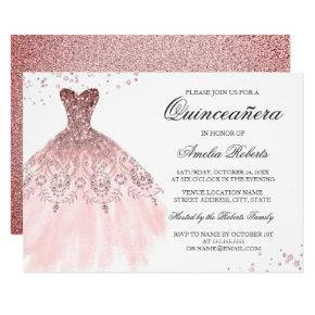 Sparkle Rose Gold Dress Quinceanera Invitation