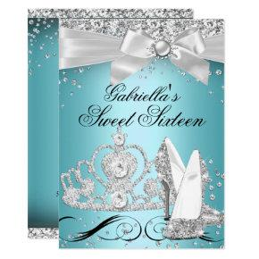 Sparkle Tiara Heels Teal Sweet 16 Invitations