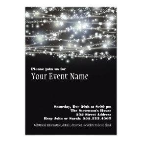 Sparkling Stars Black and White Party Invitation
