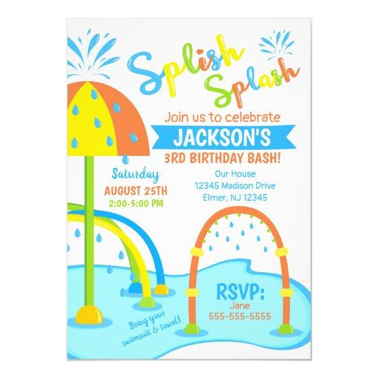 Splash Pad Birthday Invitation / Water Park / Boy