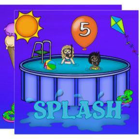 """""""Splash"""" Pool Party 5th Birthday Invitation"""