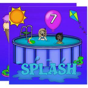 """""""Splash"""" Pool Party 7th Birthday Invitation"""