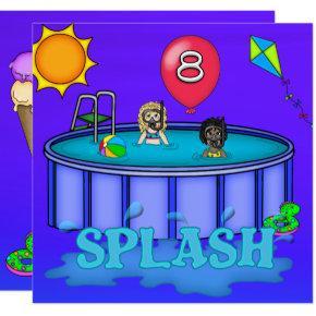 """""""Splash"""" Pool Party 8th Birthday Invitation"""