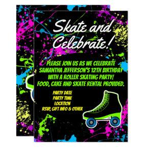 Splatter Glow Skate Roller Skating Birthday Party Invitation