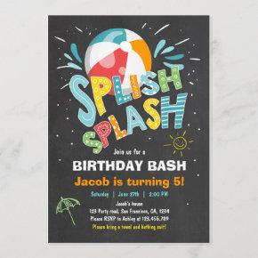 Splish Splash birthday invitation Pool party