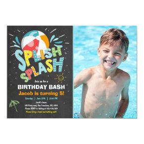 Splish Splash birthday Invitations Pool party
