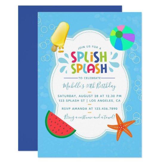 splish splash birthday party invitations candied clouds