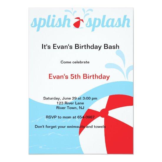 splish splash birthday pool party invitations candied clouds