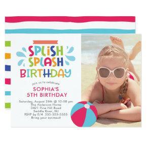 Splish Splash Pool Birthday Invitations