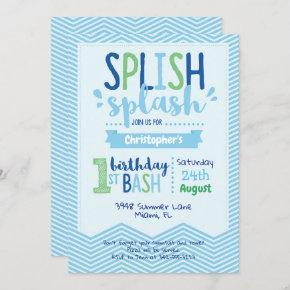 Splish Splash Pool Party 1st Birthday Invitation