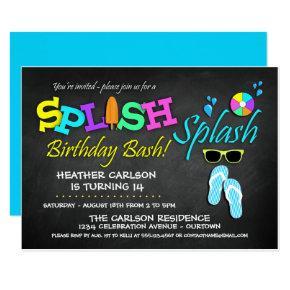 Splish Splash Pool Party Birthday Invitations