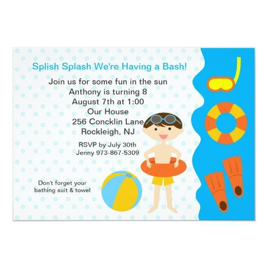 Splish Splash Pool Party Boys Birthday Invitations