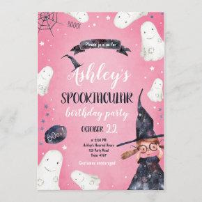 Spooktacular Halloween Witch Hat Ghost Birthday Invitation