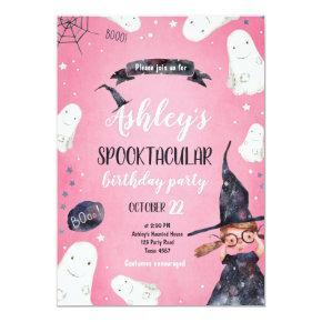 Spooktacular Halloween Witch Hat Ghost Birthday Invitation