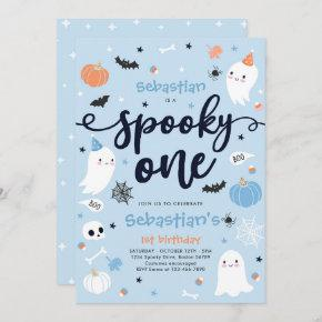 Spooky One Cute Halloween Ghost 1st Birthday Party Invitation
