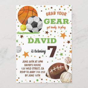 Sport themed Birthday Party Boy Sports Invitation