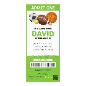 Sport Ticket Birthday Boy Party Tickets Invitation