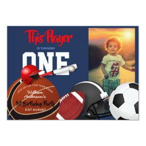 Sports 1st Birthday Baseball Football Invitations