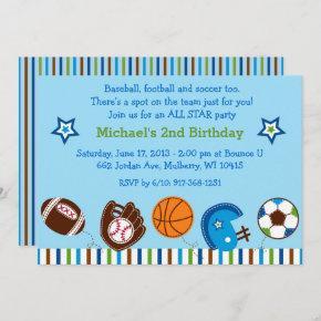 Sports 1st Birthday Invitation