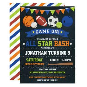 Sports All Star Birthday Baseball Basketball Party Invitation