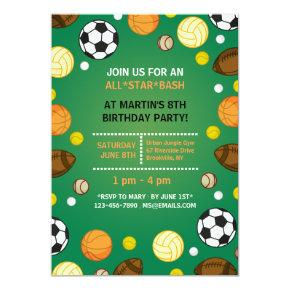 Sports Background Invitations
