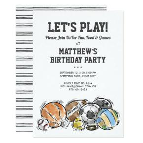 Sports Balls Athletic Birthday Party Invitation