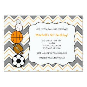 Sports balls birthday party invites
