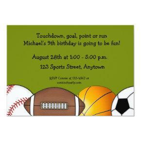 Sports Balls Border Invitations