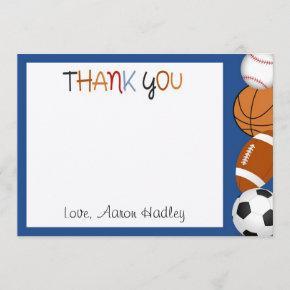 Sports Baseball Football Birthday Thank You Card