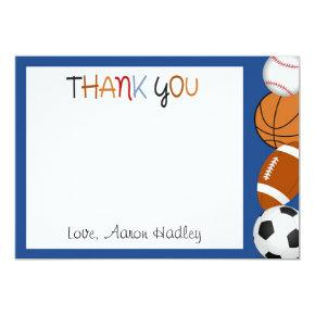 Sports Baseball Football Birthday Thank You Card