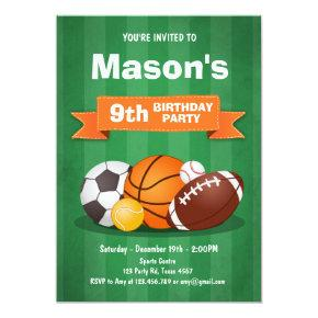 Sports birthday invitation Party boys All star