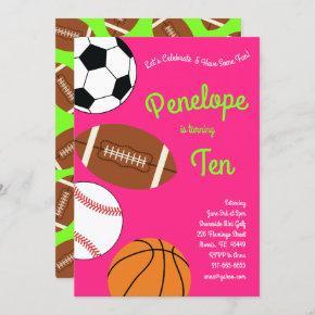 Sports Kids Birthday Party Pink Girls Invitation
