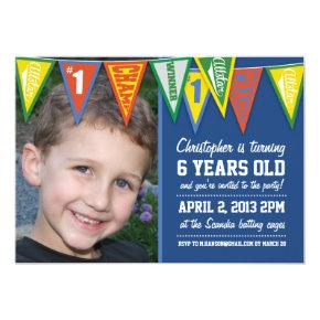 Sports Pennants Boys Birthday Invitations