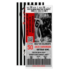 Sports Theme Football Ticket Birthday Party Invitation