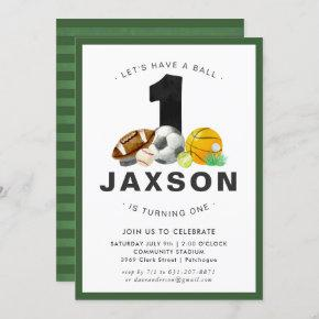 Sports Themed 1st Birthday Party Invitation