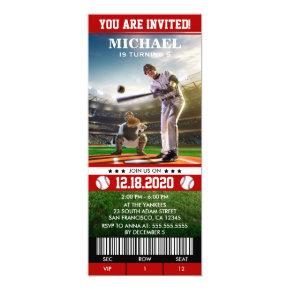 Sports Themed Baseball Birthday Party Ticket Invitation