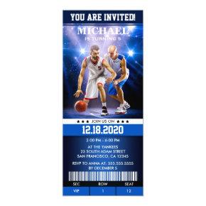 Sports Themed Basketball Birthday Party Ticket Invitation