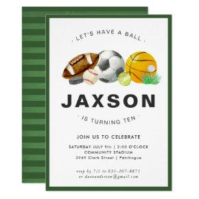 Sports Themed Birthday Party Invitation