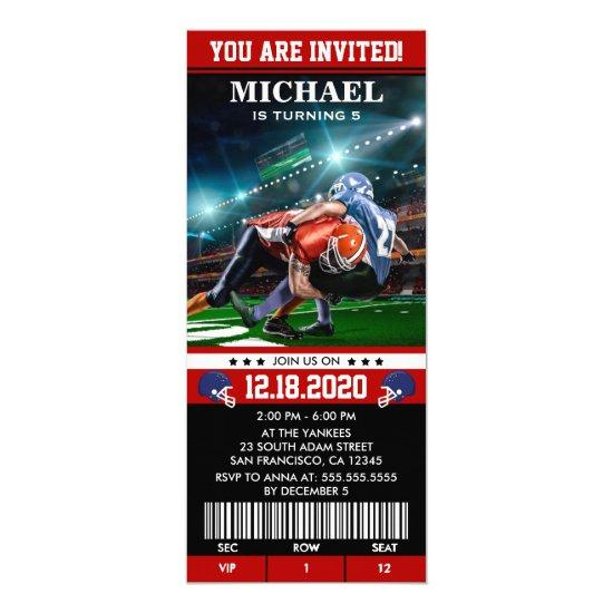 Sports Themed Football Birthday Party Ticket