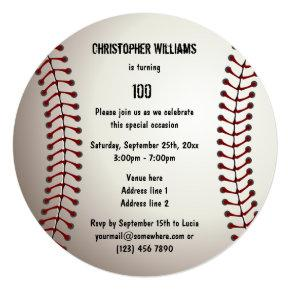 Sporty Baseball 100th Birthday Party Double Sided Card